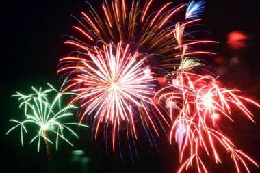 Fireworks in a night sky.