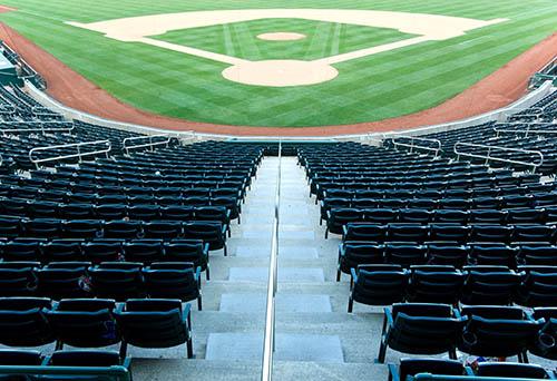 Empty seats at a baseball stadium