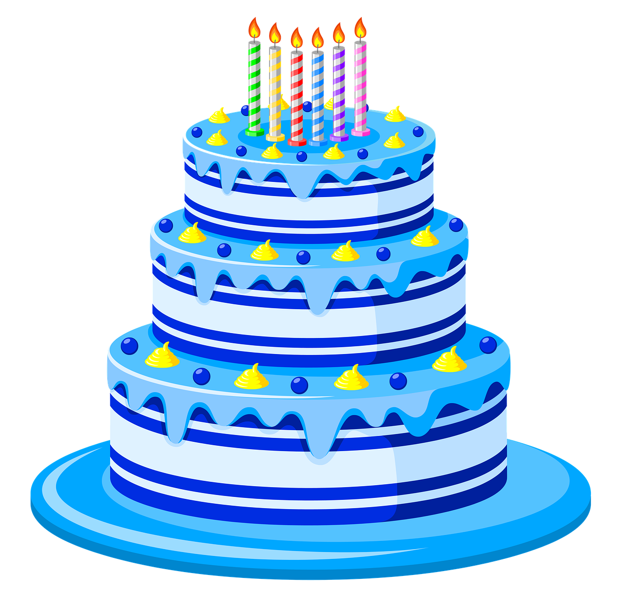 3 tier blue birthday cake with candles on top.