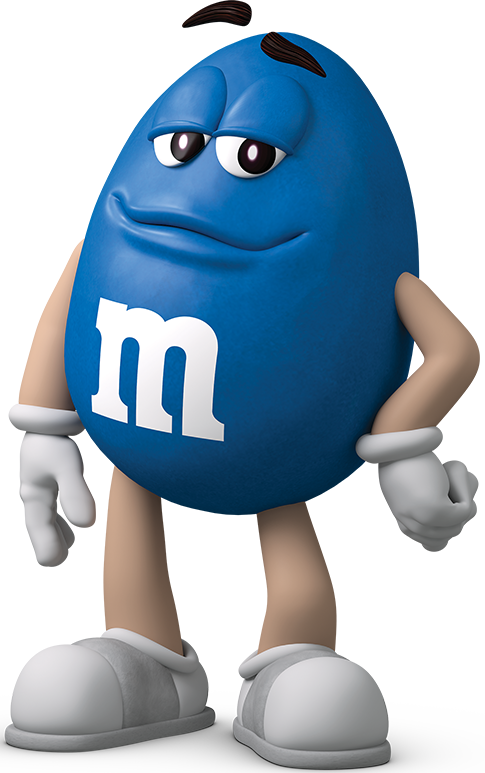Blue M&M just standing.