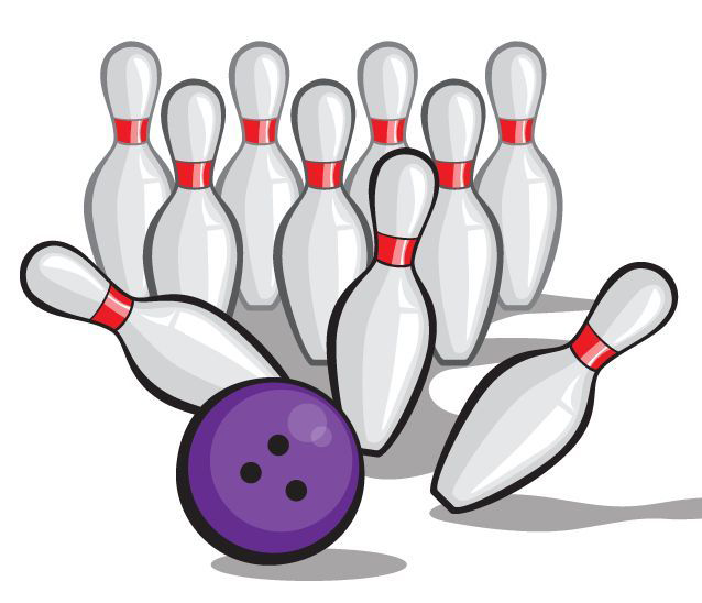 Purple bowling ball hitting pins.