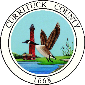 Currituck County Seal - Lighthouse, Goose and water with text that say Currituck County 1668.
