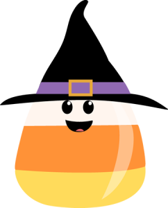 Candy Corn with face and witches hat.