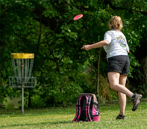 Girl throwing a disc to the net.