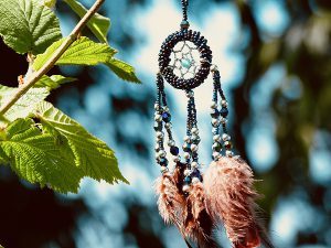 Dream Catcher with beads and feathers.
