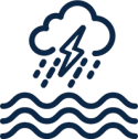 Blue outline icon with flooding lines and thunder and lighting cloud.