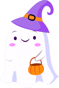 Ghost, witches hat.