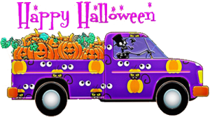 Purple truck with jack-o-laterans
