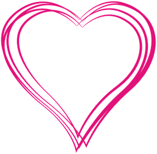 Red heart outline.