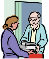 Older man at the door getting a meal from a lady.