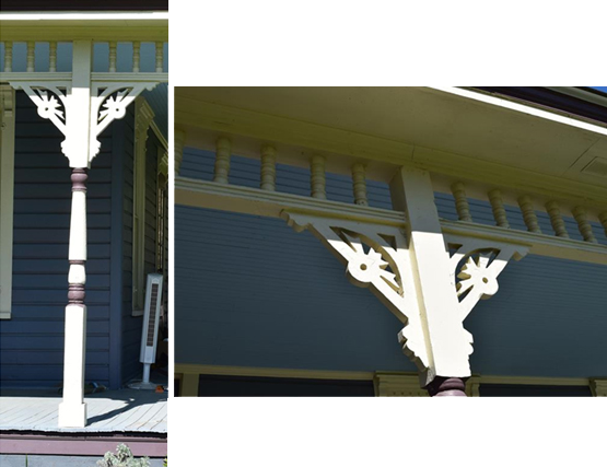 Turned porch post, spindle frieze, detailed milled and pierced brackets.