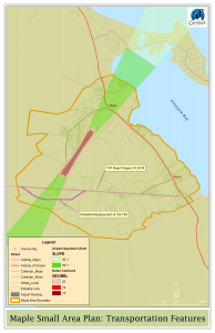 Highlights the transportation areas available in the area.