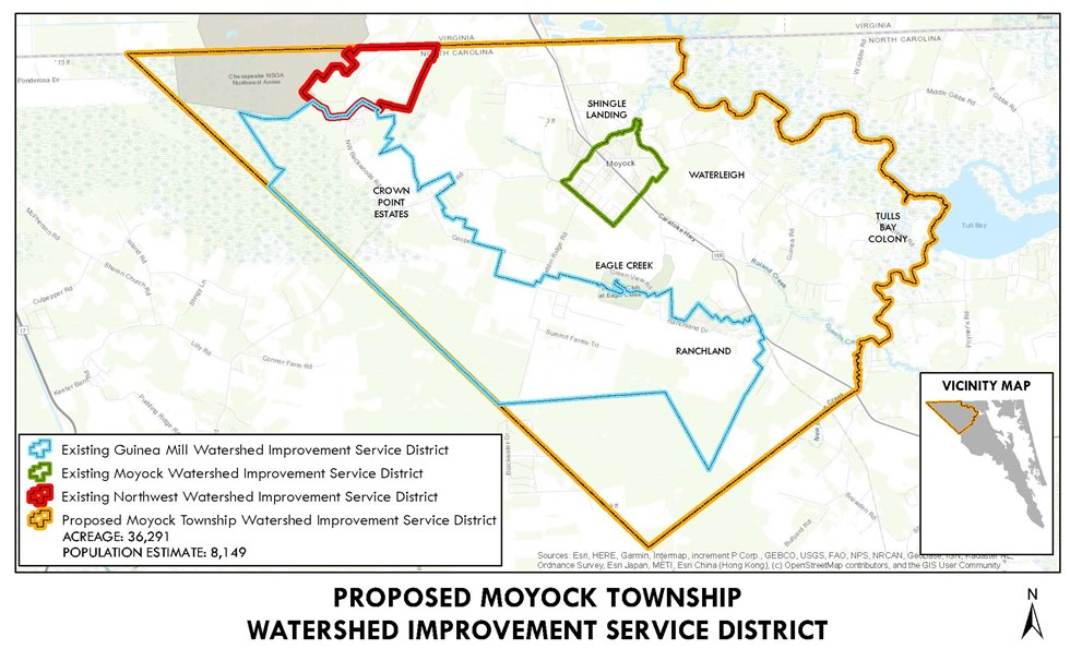 Map of proposed moyock township watershed improvement service district