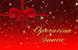 Christmas package with Operation Santa written on it.
