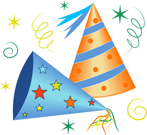 2 party hats with ribbon and stars around them.