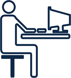 Outline of person sitting at a computer in navy blue.