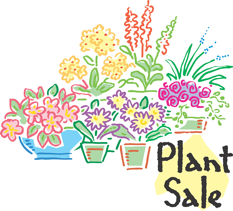 """Many flowers and the words """"Plant Sale"""""""