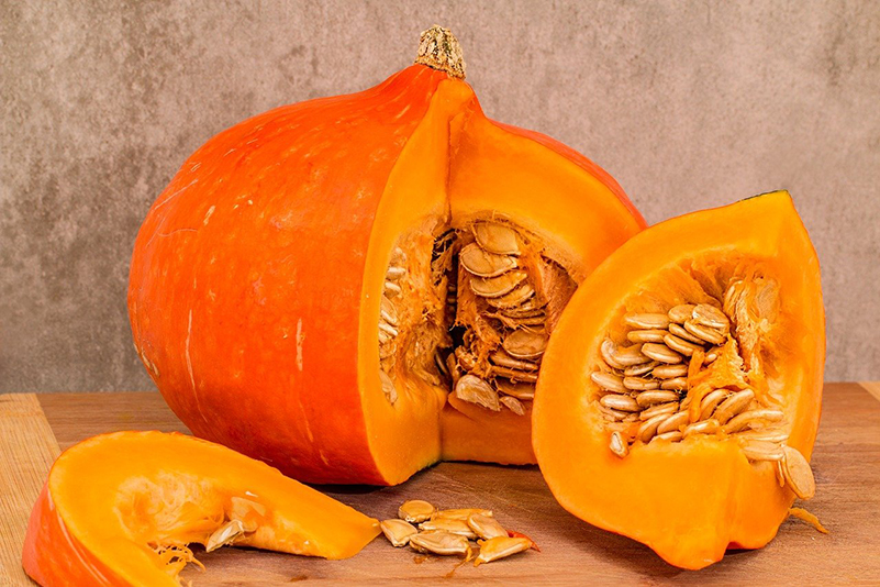 Pumpkin sliced open.