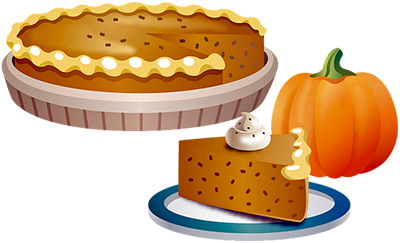 Pumpkin Pie with a slice out on a plate. Pumpkin for decoration.