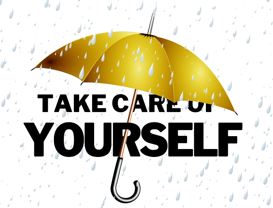Take Care of Yourself with rain drops in the backup and gold umbrella protecting the words.