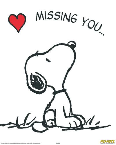 Snoopy with heart and letter over saying Missing You