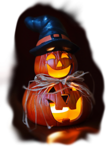 Lighted stacked pumpkin.