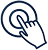blue outline icon of hand and two circles representing touch screen