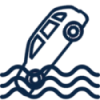 Blue icon, showing a car in water (wavy lines)