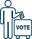 Outline of a person placing a ballot in a vote box.
