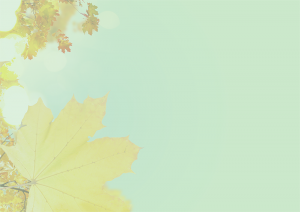 Green background with fall leaves.