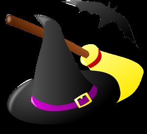 Witch hat, broom, bat
