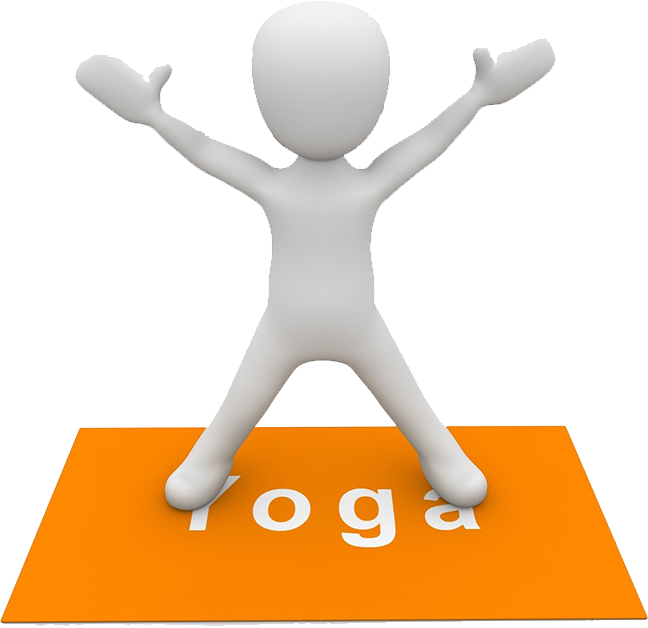 White animated person on a Yoga mat.